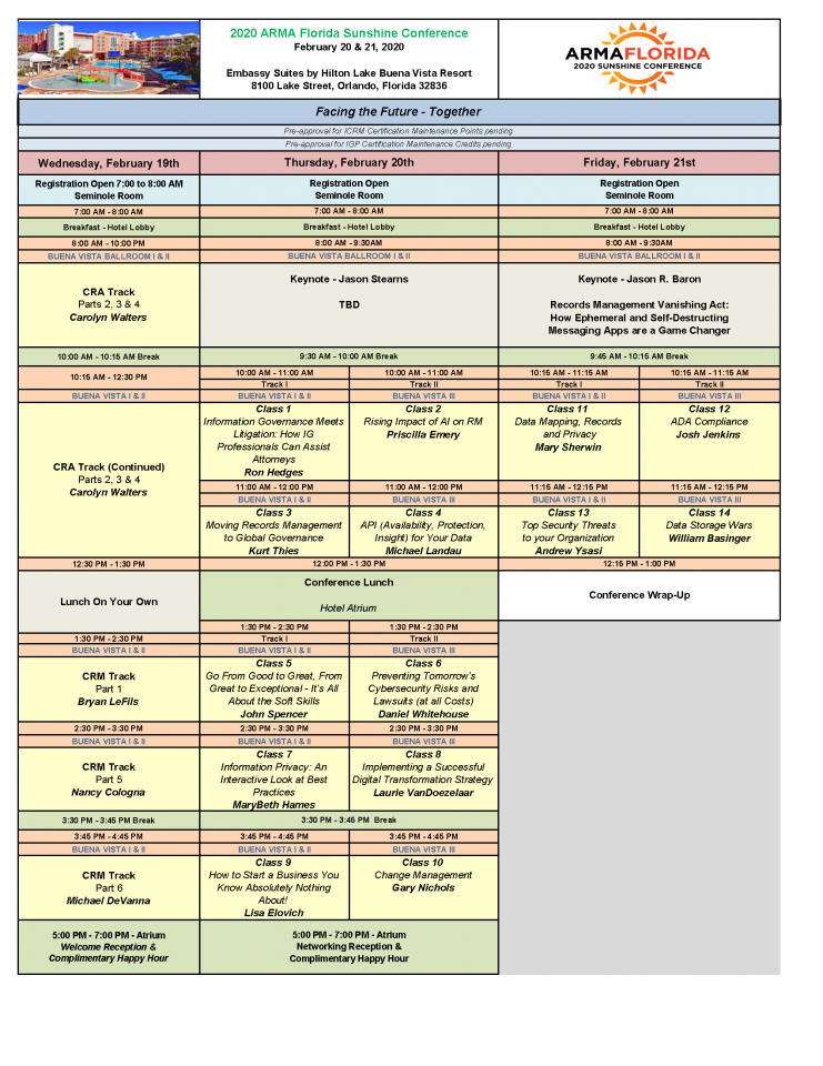 2020 Conference Schedule
